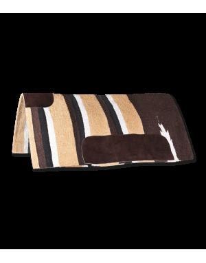 Tapis western Navajo avec empiècement en cuir W94580